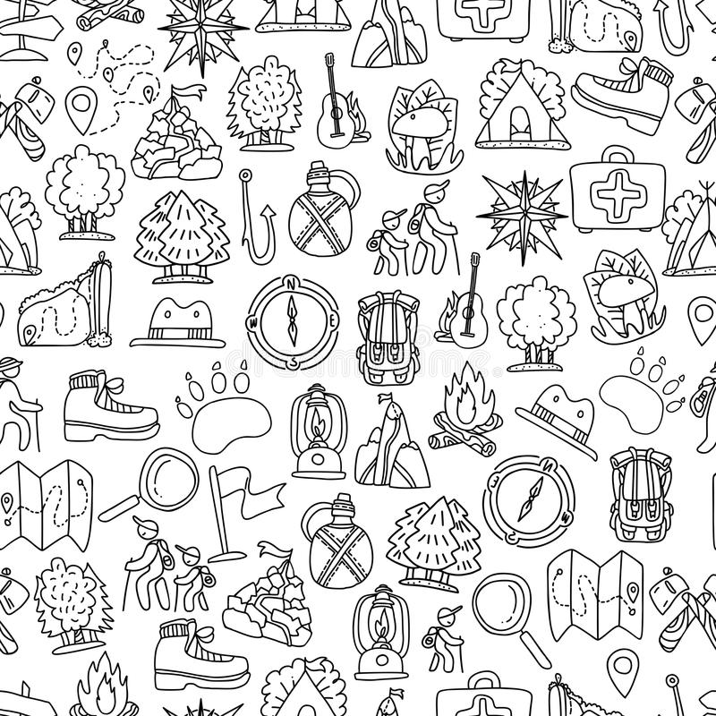 Hiking and trekking travel seamless pattern. Endless repeatable background with cartooning traveling elements about. Camping, vacation and wild life. Woods vector illustration