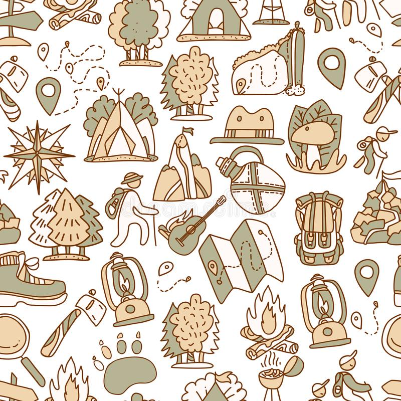 Hiking and trekking travel seamless pattern. Endless repeatable background with cartooning traveling elements about stock illustration