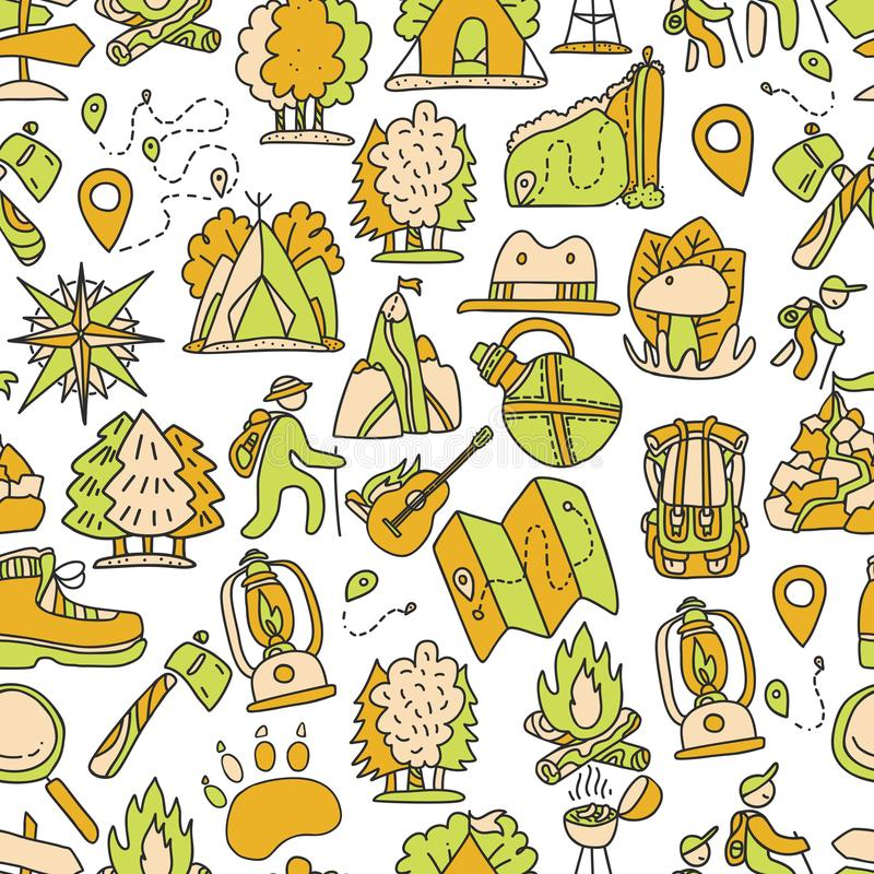 Hiking and trekking travel seamless pattern. Endless repeatable background with cartooning traveling elements about. Camping, vacation and wild life. Woods royalty free illustration