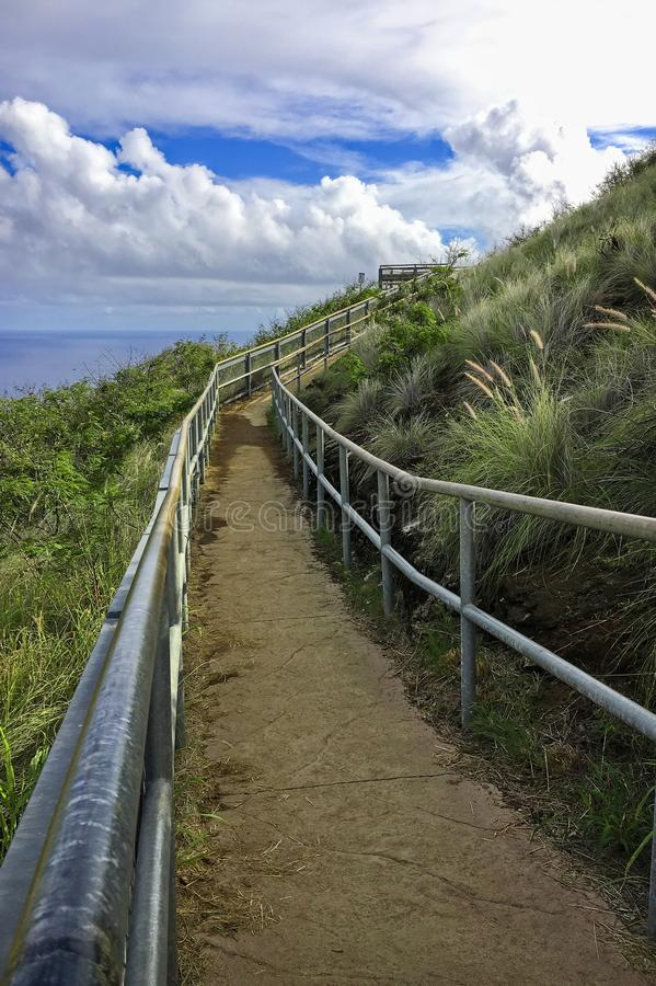 The trail of Diamond Head crater on Oahu, Hawaii stock photos