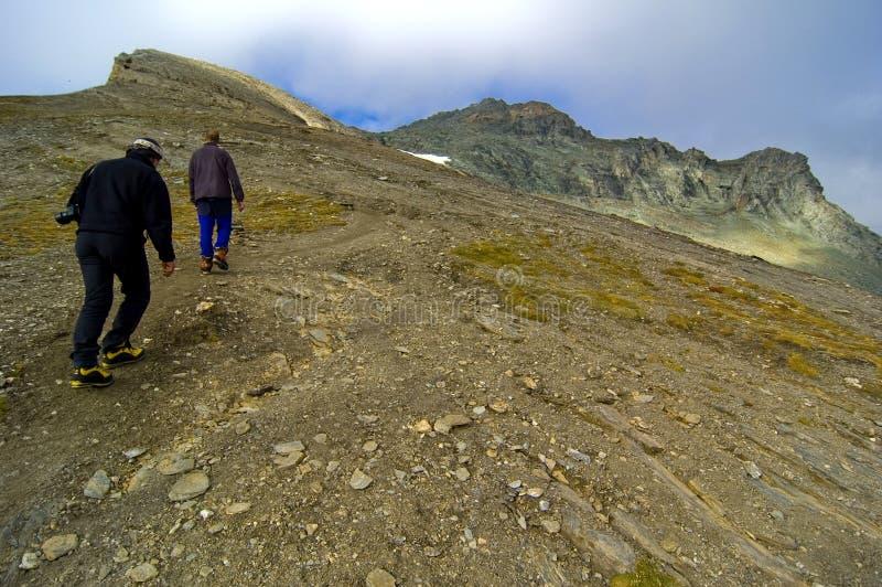 Hiking up Grossglockner mountain. stock photo