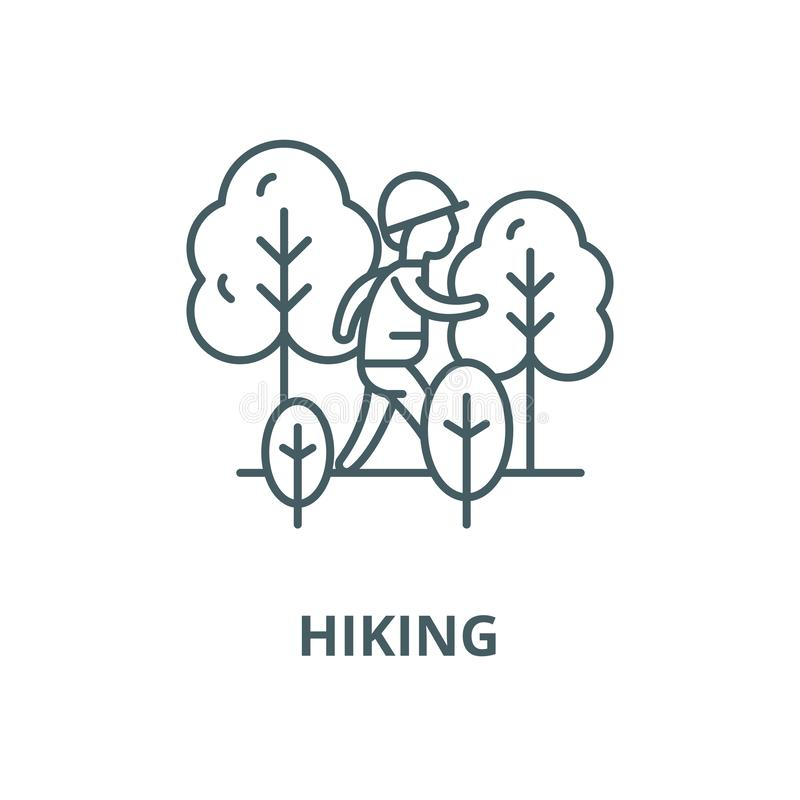 Hiking vector line icon, linear concept, outline sign, symbol vector illustration