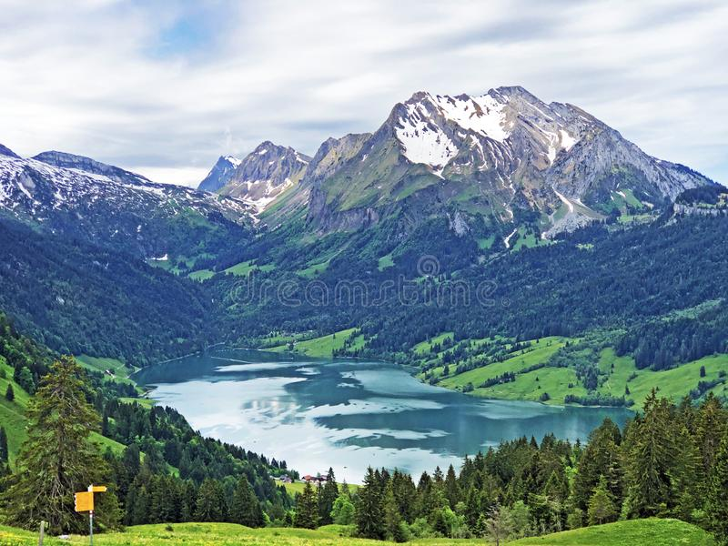Hiking and walking trails in the valley of Wagital or Waegital and by the alpine Lake Wagitalersee Waegitalersee, Innerthal stock images