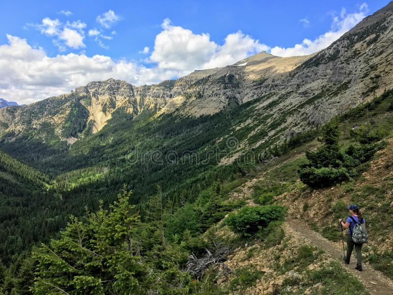 Hiking in Waterton Lakes National Park doing the crypt lake hike royalty free stock images
