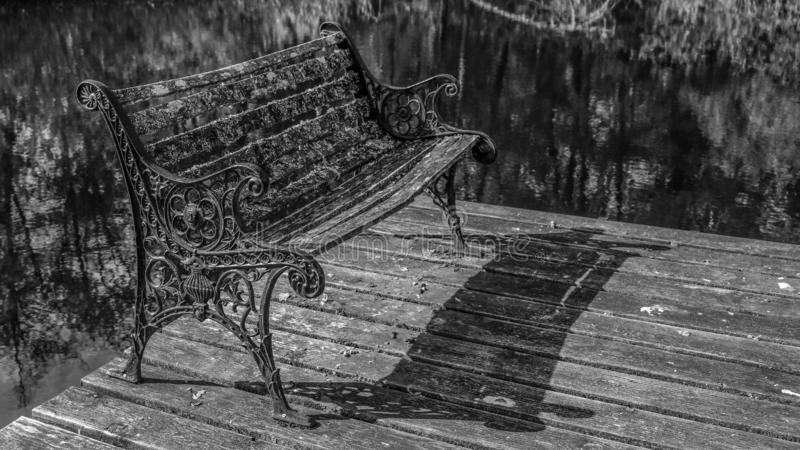 Black and White Of A Retro Old Bench On The Pier Of Marlake Lake In The West Hylebos Wetlands Park In Early Autumn, Federal Way, W. A bench that has been through stock photo