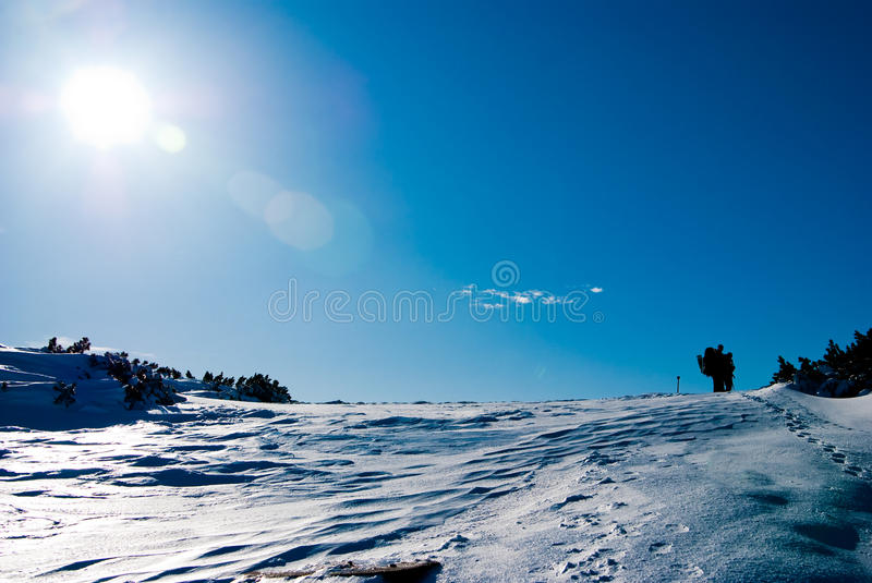 Hiking in winter royalty free stock photos