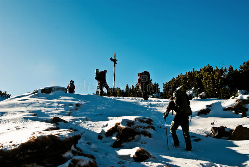 Hiking in winter stock photography