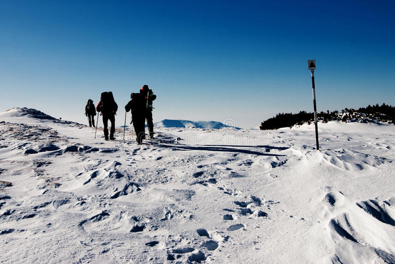 Hiking in winter royalty free stock image
