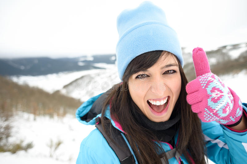 Hiking woman success royalty free stock images