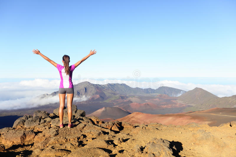 Download Hiking Woman On Top Happy And Celebrating Success Stock Image - Image: 34437145