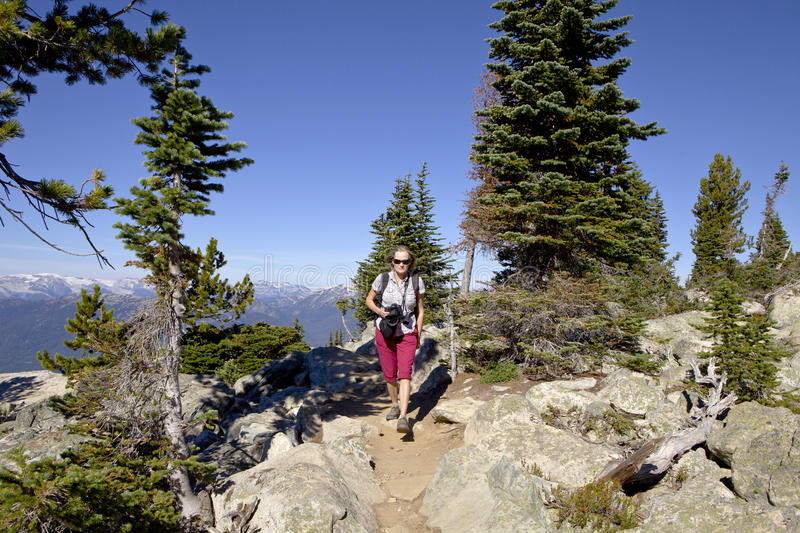 Hiking women with camera. Mature woman with camera hiking on trail, British Columbia royalty free stock images