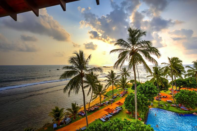 Hikkaduwa-Sonnenuntergang, Sri Lanka stockbilder