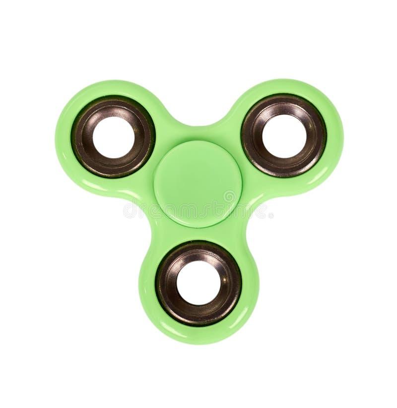 Hilandero verde de la persona agitada aislado en el fondo blanco fotografía de archivo libre de regalías