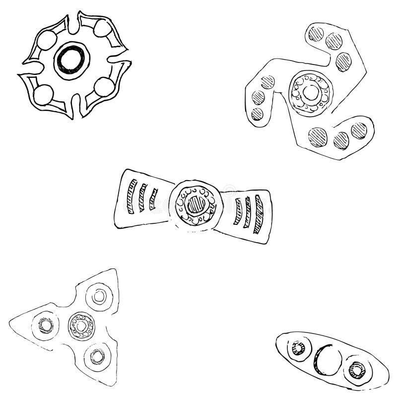 Hilanderos de diversas formas ilustración del vector