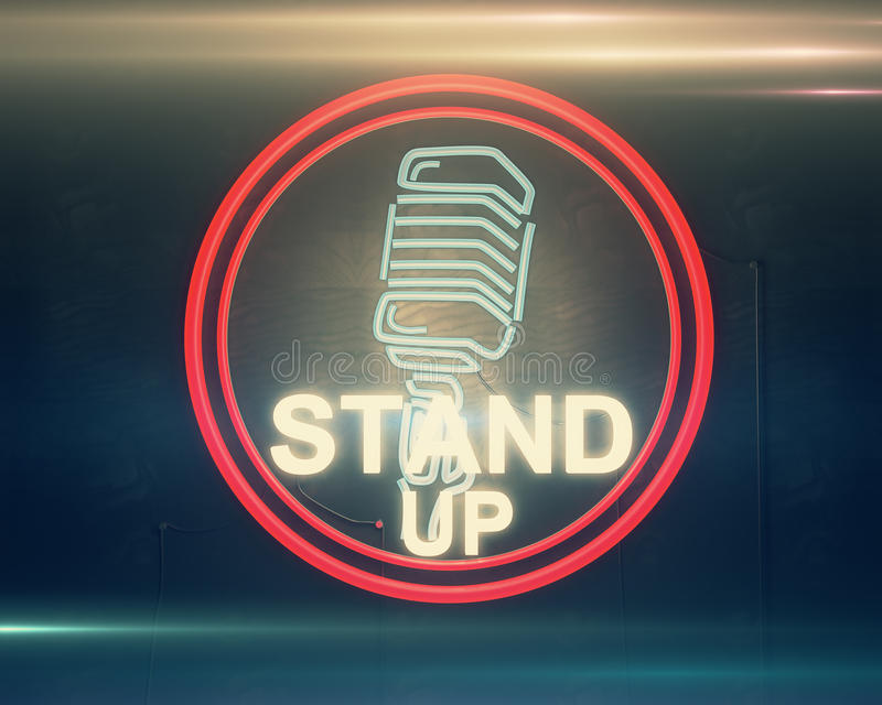 Hilarious concept. Close up of illuminated retro stand up microphone icon on dark background. Hilarious concept. 3D Rendering vector illustration