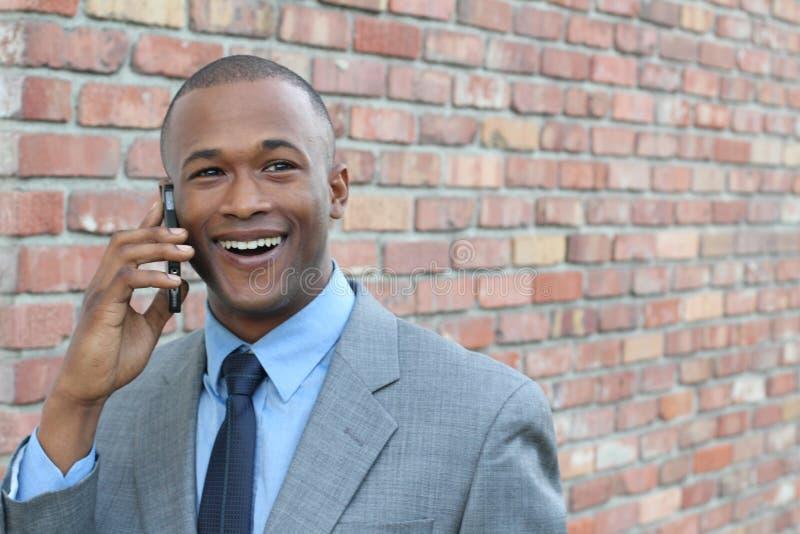 Hilarious cute businessman showing surprise stock image