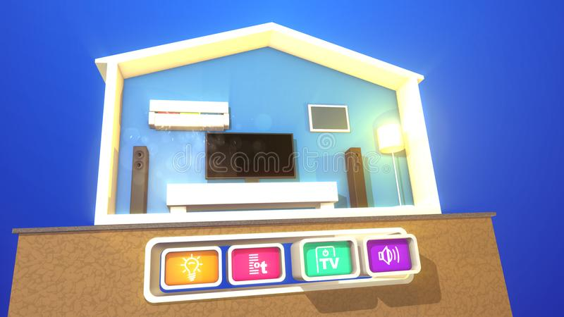 Switched smart flat on a wooden stand. A hilarious 3d illustration of a turned on smart home section with a working plasma TV, large speakers, classic floor lamp royalty free illustration