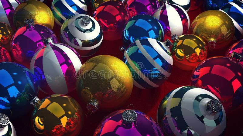 Merry Cristmas Baubles. A hilarious 3d rendering of dazzling glass balls for Christmas fir trees. They lie together in a pile and look gorgeous. They are stock illustration