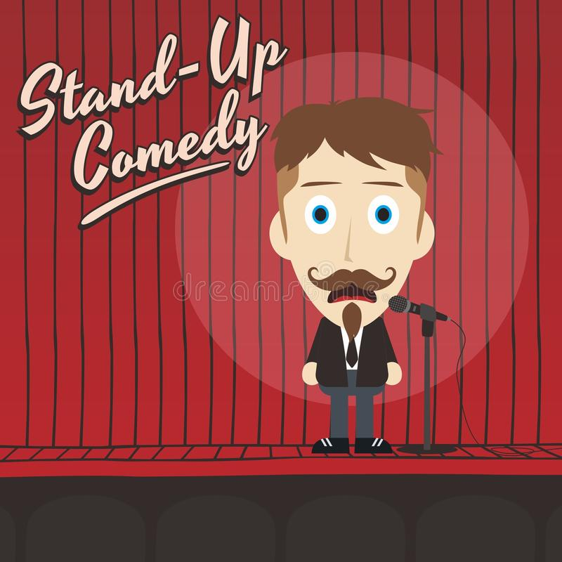 Hilarious guy stand up comedian cartoon. Male stand up comedian cartoon character illustration vector illustration