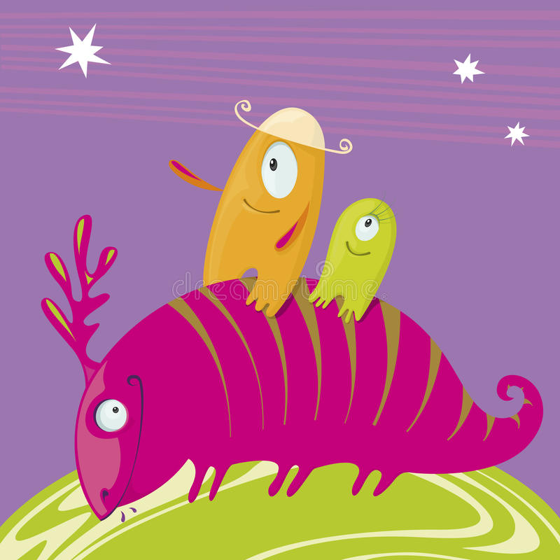 Hilarious journey monsters. Journey of three fun monster stock illustration