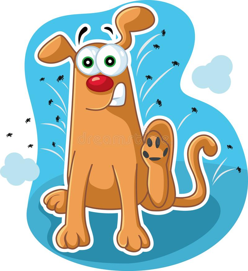 Funny Dog Scratching Fleas Vector Cartoon. Hilarious pet animal inching because of insect bites vector illustration