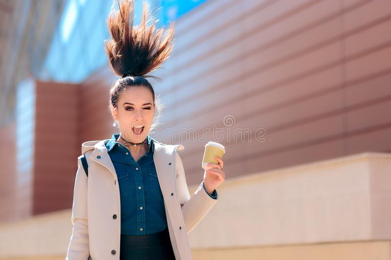 Funny Girl with Hot Drink Coffee Cup For Extra Morning Energy stock images