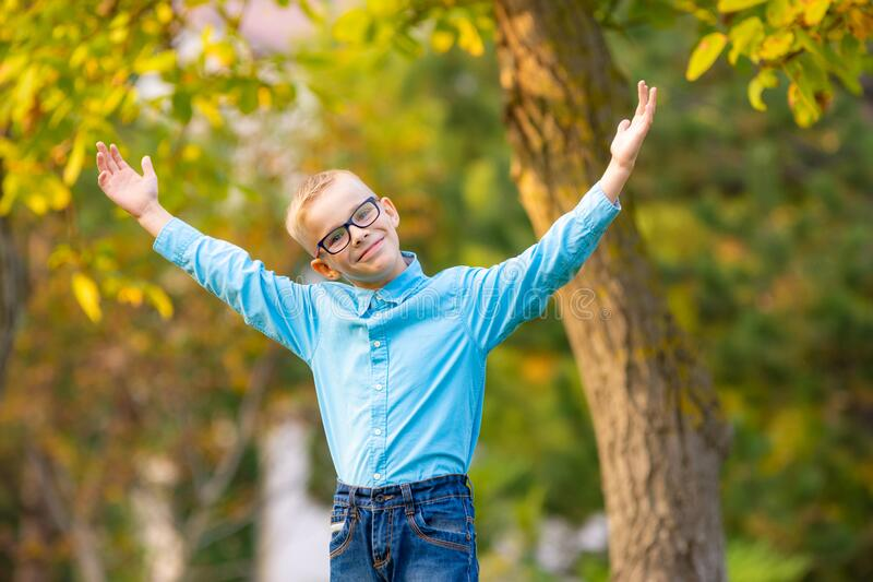 Hilarious seven-year-old boy gleefully raised his hands up in autumn city park stock photography