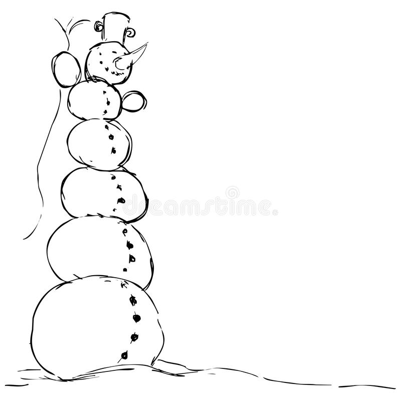 Hilarious tall snowman - vector illustration black sketch. On white royalty free illustration