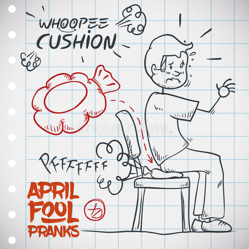 Hilarious Whoopee Cushion Prank, Vector Illustration. Man unaware of whoopee cushion sits on it an gets embarrassed, classic prank for April Fools' Day draw in a stock illustration