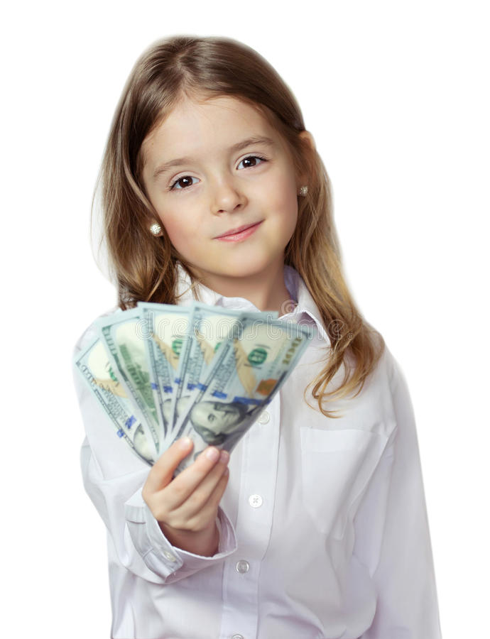 Hild κορίτσι Ð ¡ χρήματα εκμετάλλευσης πουκάμισων που απομονώνεται στα άσπρα στο λευκό Finac στοκ εικόνα με δικαίωμα ελεύθερης χρήσης