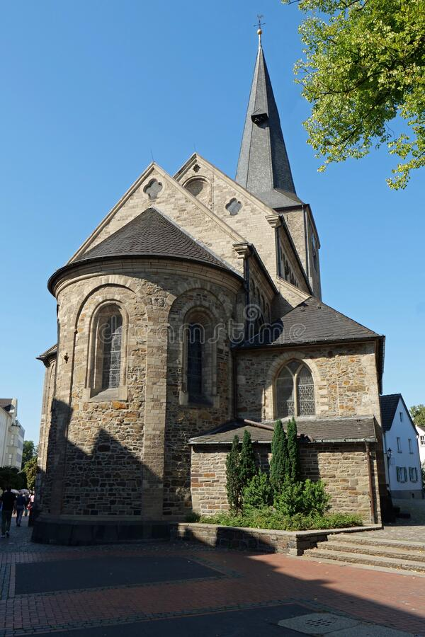 Hilden, Germany, Europe - August 24, 2019: View of the back of the protestant Reformation Church in the city center. The Reformation Church in Hilden, Germany royalty free stock photo