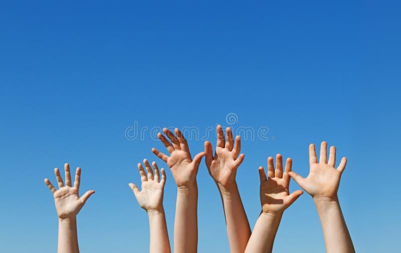 Download Hildren hands raised up stock photo. Image of kids, girl - 24621986