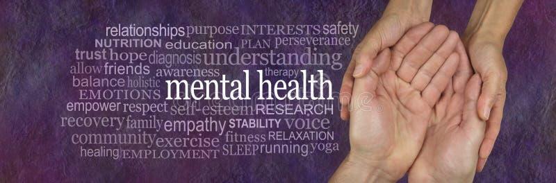 Hilfe für die mit Wort-Umbau-Wolke Fragen der psychischen Gesundheit stockbild