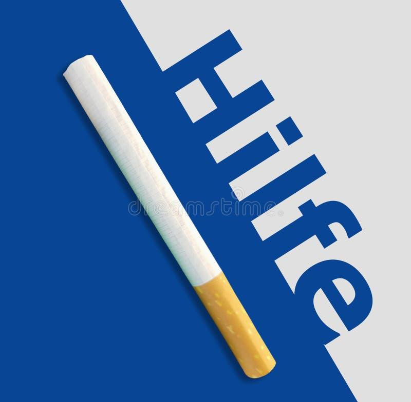Hilfe L'aide allemande de mot au-dessus du fond bleu avec des cigarettes images stock