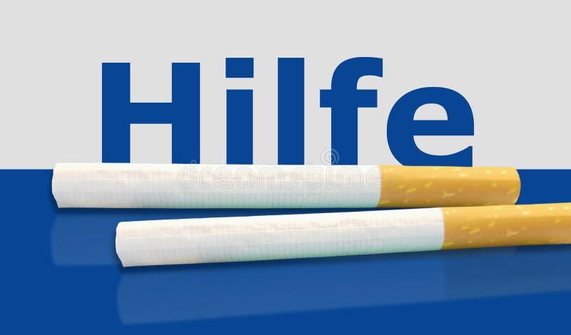 Hilfe L'aide allemande de mot au-dessus du fond bleu avec des cigarettes images libres de droits