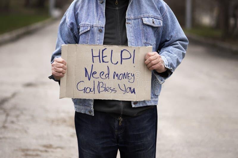 Hilfe! Notwendigkeitsgeld! stockfoto
