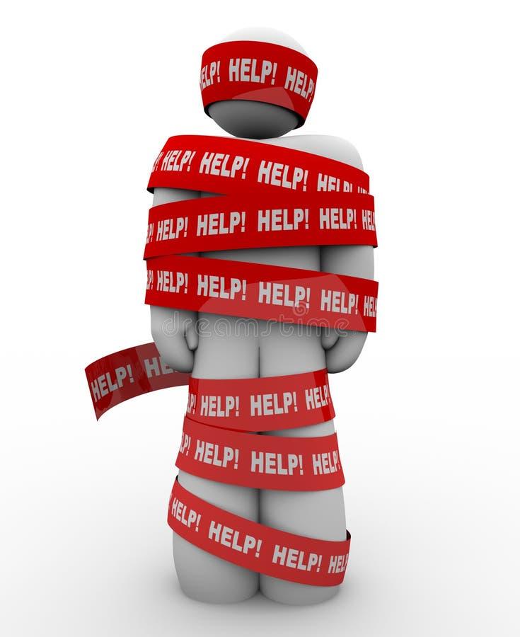 Hilfe Person Wrapped in der Bürokratie-Bedarfs-Rettung stock abbildung
