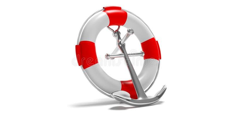 Hilfe, Sicherheit auf Seekonzept Rettungsring- und Marineanker lokalisiert auf weißem Hintergrund Abbildung 3D lizenzfreie abbildung