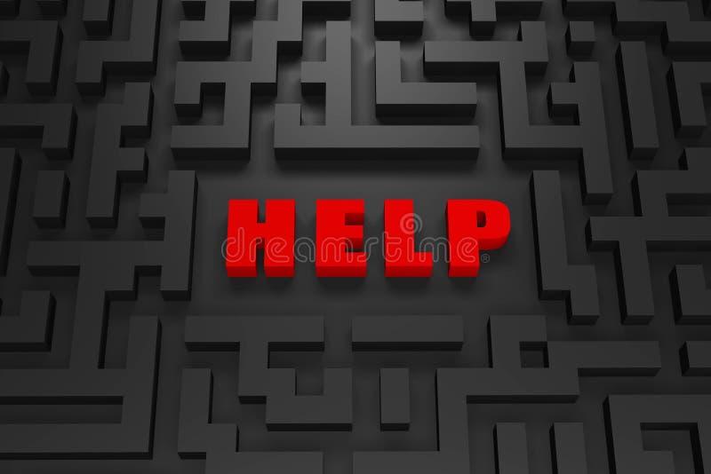 Hilfe - verloren in einem Labyrinth 3d lizenzfreie abbildung