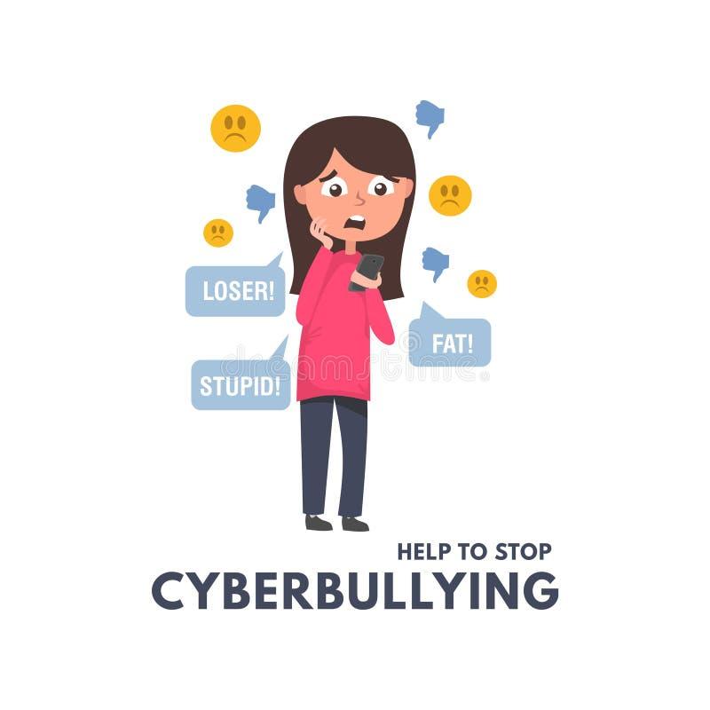 Hilfe zum Konzept, mit Mädchenlesemitteilungen und -kommentaren in den sozialen Netzwerken cyberbullying aufzuhören Kinder und Er lizenzfreie abbildung
