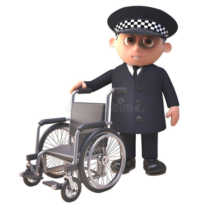 Hilfreicher Polizistcharakter des Polizeibeamten 3d, der mit einem Rollstuhl, Illustration 3d bereitsteht vektor abbildung