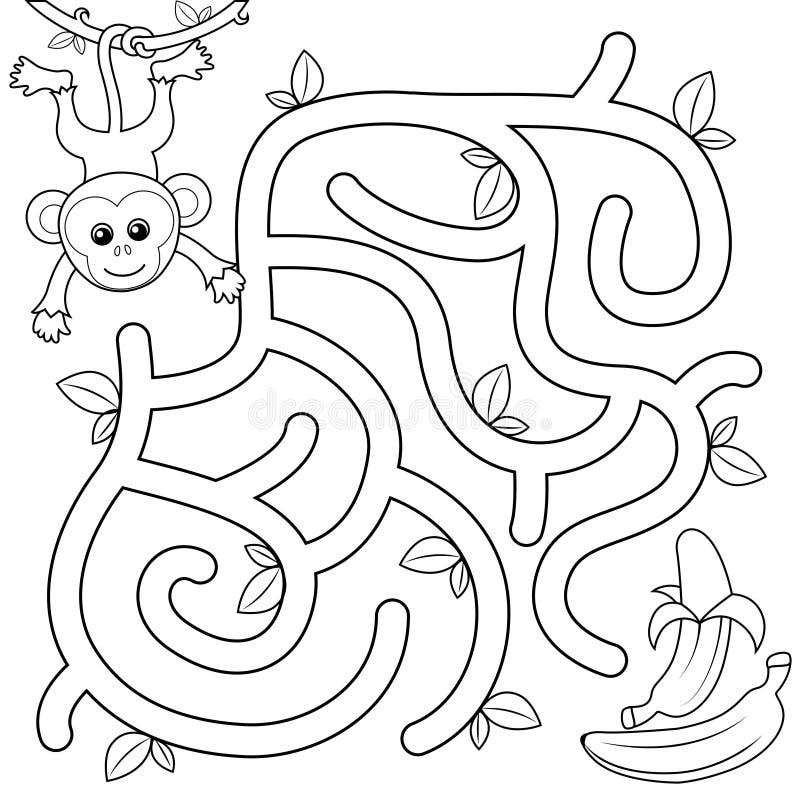 Hilfsaffe-Entdeckungsweg zur Banane labyrinth Labyrinthspiel für Kinder Schwarzweiss-Vektorillustration für Malbuch lizenzfreie abbildung