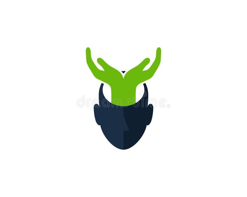 Hilfsmenschlicher Kopf Logo Icon Design stock abbildung