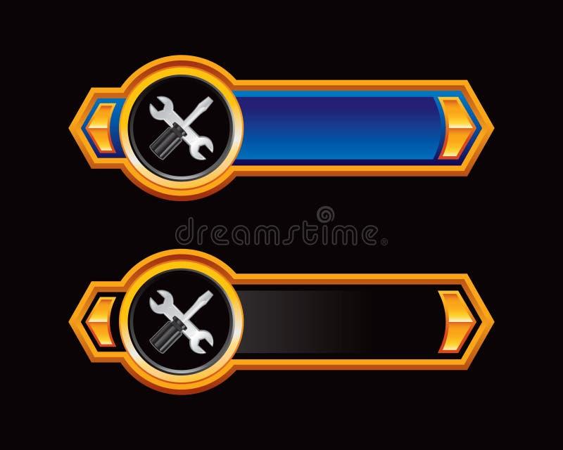 Hilfsmittel auf einem blauen und schwarzen Pfeil vektor abbildung