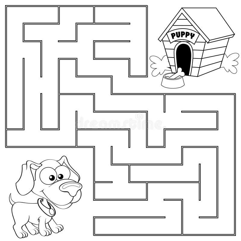 Hilfswelpen-Entdeckungsweg zu seinem Haus labyrinth Labyrinthspiel für Kinder vektor abbildung