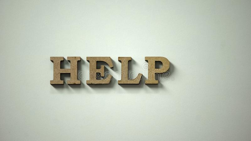 Hilfswort gemacht von den hölzernen Buchstaben, die auf Tabelle, bitten um Unterstützung, Spende liegen stockfoto