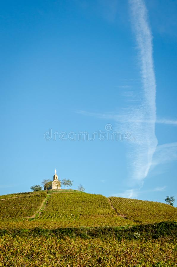 Hill του χωριού Fleurie στοκ εικόνες