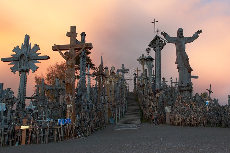 Download Hill of crosses stock photo. Image of rest, faith, dusk - 3553268