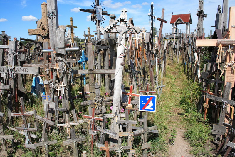 Hill of Crosses. Not far from Siauliai city, Lithuania royalty free stock photo