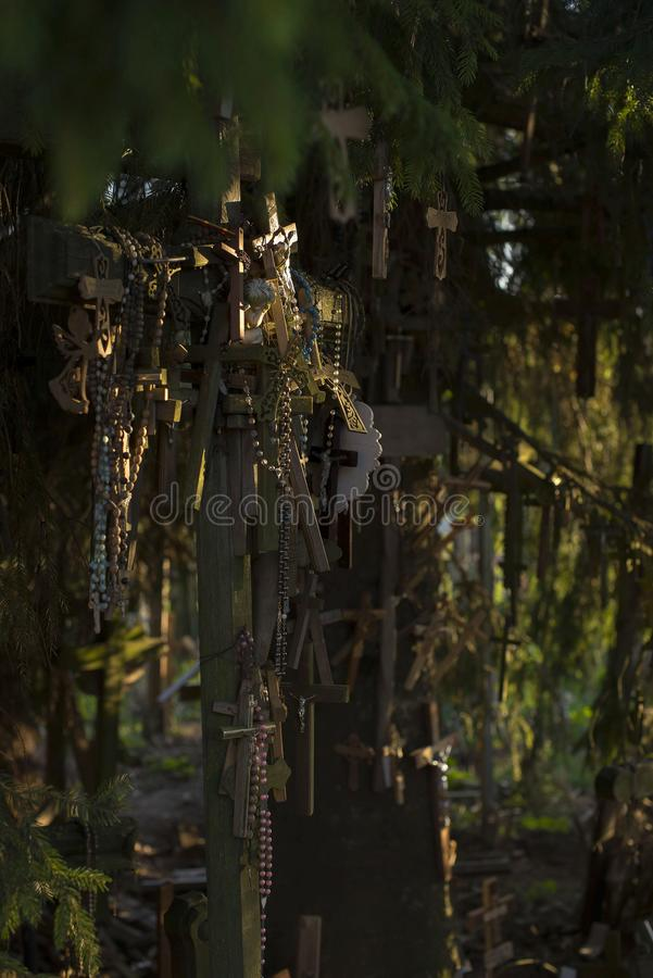 The hill or crosses in Lithuania stock photography